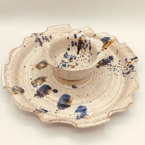 Handcrafted Signed American Pottery Chip & Dip